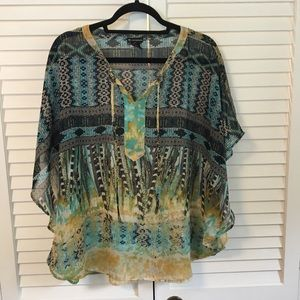New Directions Sheer Boho Blouse, XL